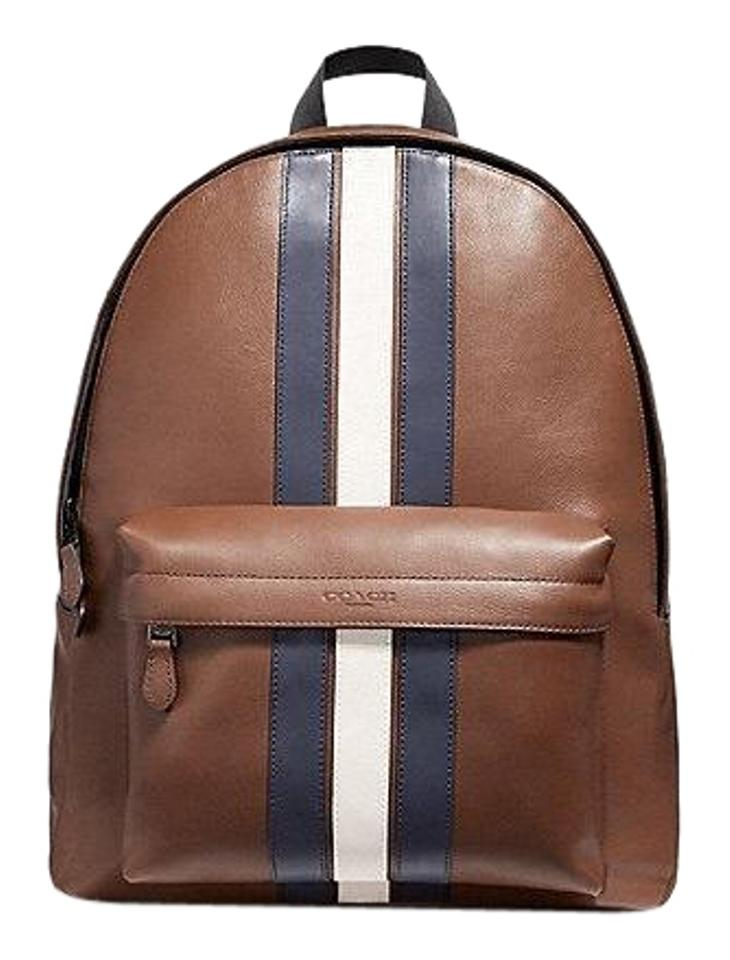Coach Men s Charles with Varsity Stripe Saddle Leather Backpack ... 05d840603fe68