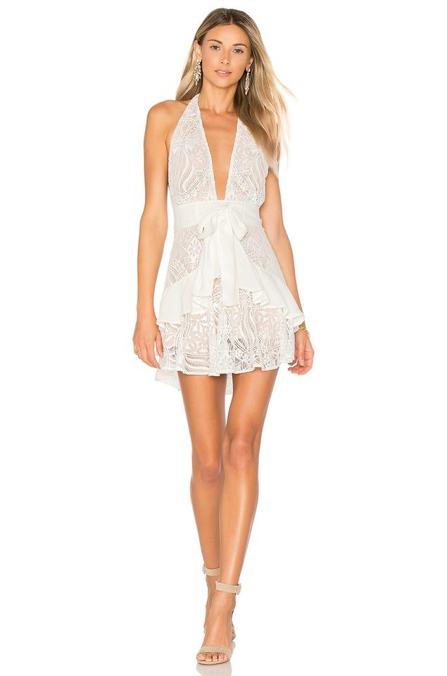 For Love & Lemons Ivory Lily Lace Halter Short Cocktail Dress Size ...