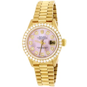 Rolex President Datejust Ladies Gold 26MM w/Pink MOP Diamond Dial & Bezel