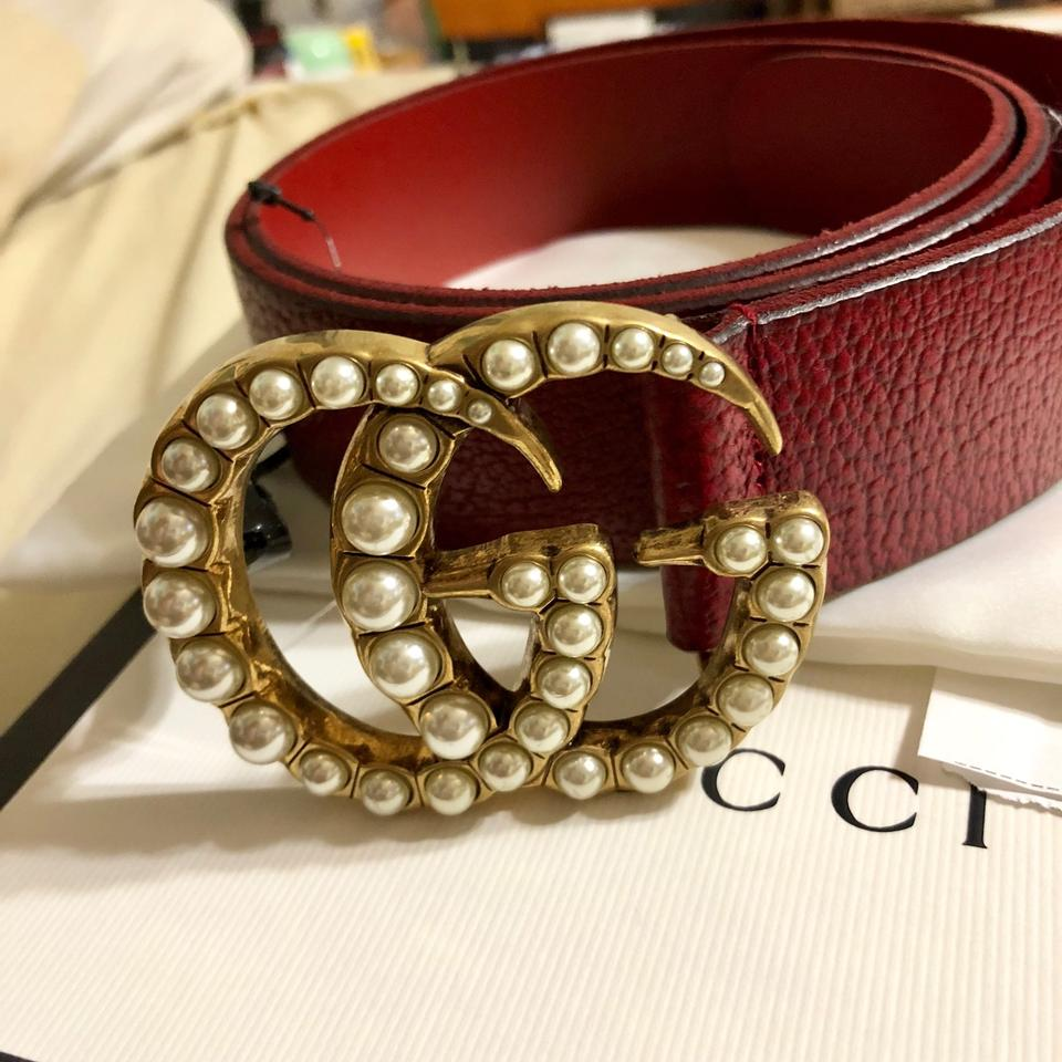 "0d66c3abced Gucci Red Marmont 2018 95 38 1.5"" Pearl Gg Leather Double Burgundy ..."