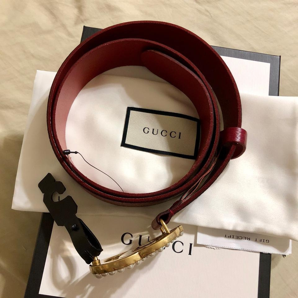 """ac0fea294b5 Gucci Red Marmont 2018 95 38 1.5"""" Pearl Gg Leather Double Burgundy ..."""