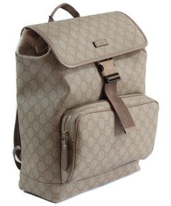 bad667f4104bcc Gucci Backpack. Gucci 246103 Gg Supreme Canvas Flap Beige/Winter Rose  Leather Backpack