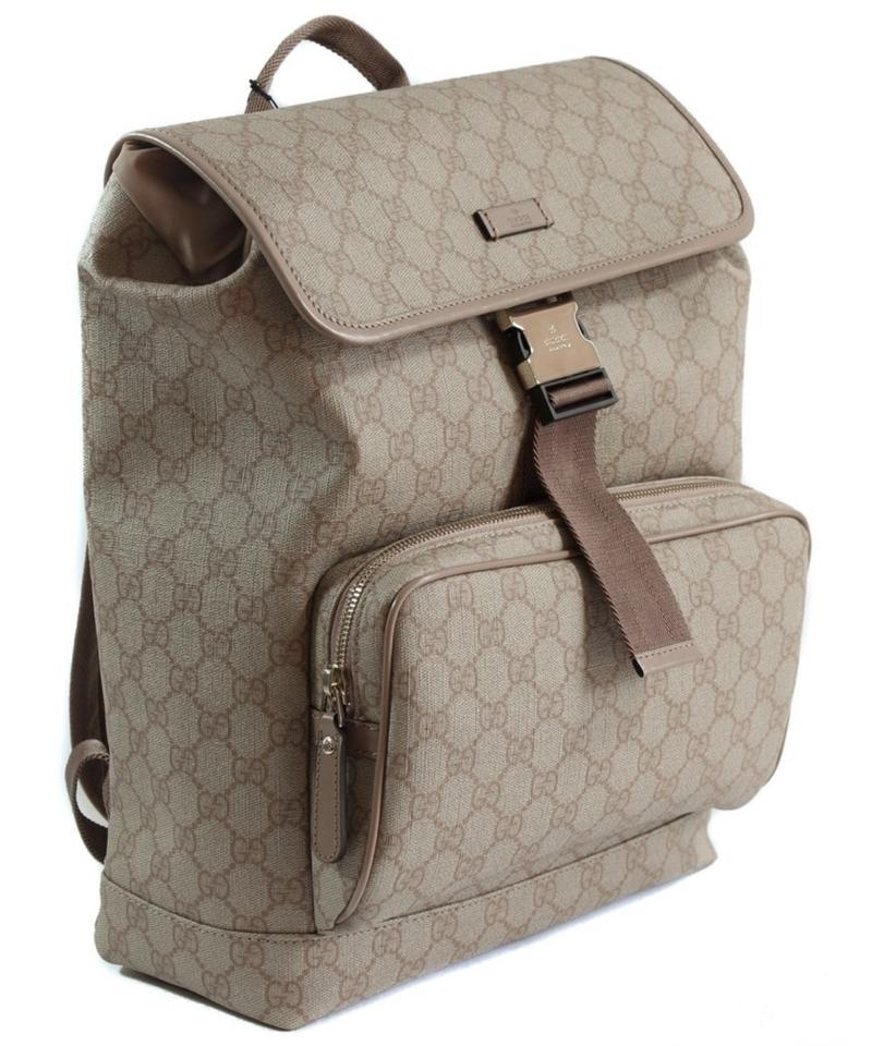 99b80a54f253 Gucci 246103 Gg Supreme Canvas Flap Beige/Winter Rose Leather ...