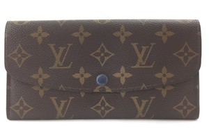 Louis Vuitton Blue Emilie Large Long Monogram Flap Wallet Pocket Bill card
