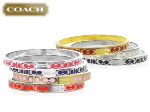 Coach COACH THIN SIGNATURE RED/GOLD BANGLE BRACELET 96857