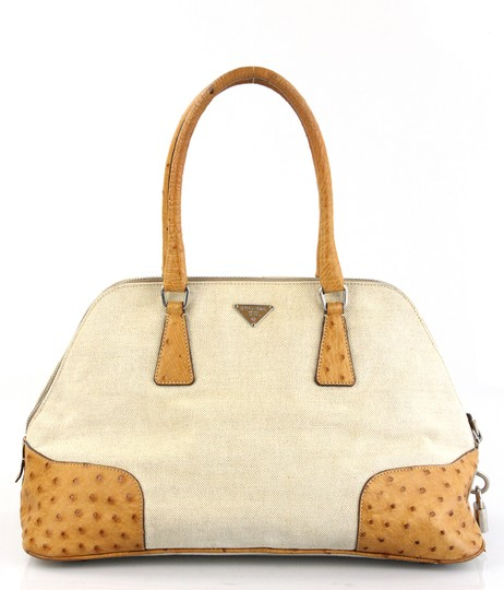 Preload https://item2.tradesy.com/images/prada-natural-leather-ostrich-and-canvas-satchel-2326211-0-3.jpg?width=440&height=440