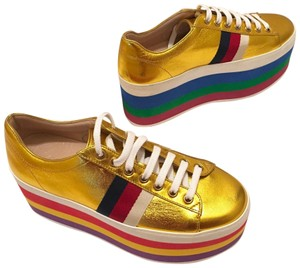 f6637ad8253 Gucci Gold Peggy Metallic Leather Rainbow Platform Sneakers Size US ...