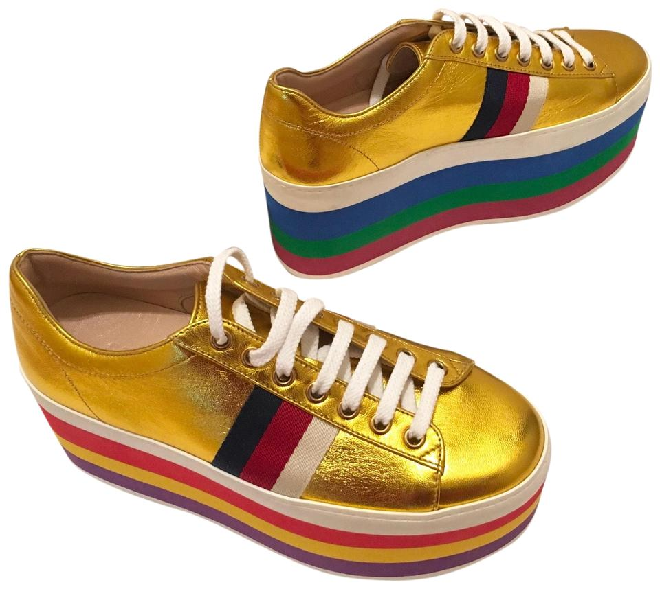 6e1a0d053d01 Gucci Gold Peggy Metallic Leather Rainbow Platform Sneakers Size US ...