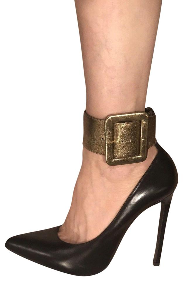 c1cf7725a Saint Laurent Black Nero Calf Buckle Stiletto Pumps Size US 8.5 ...
