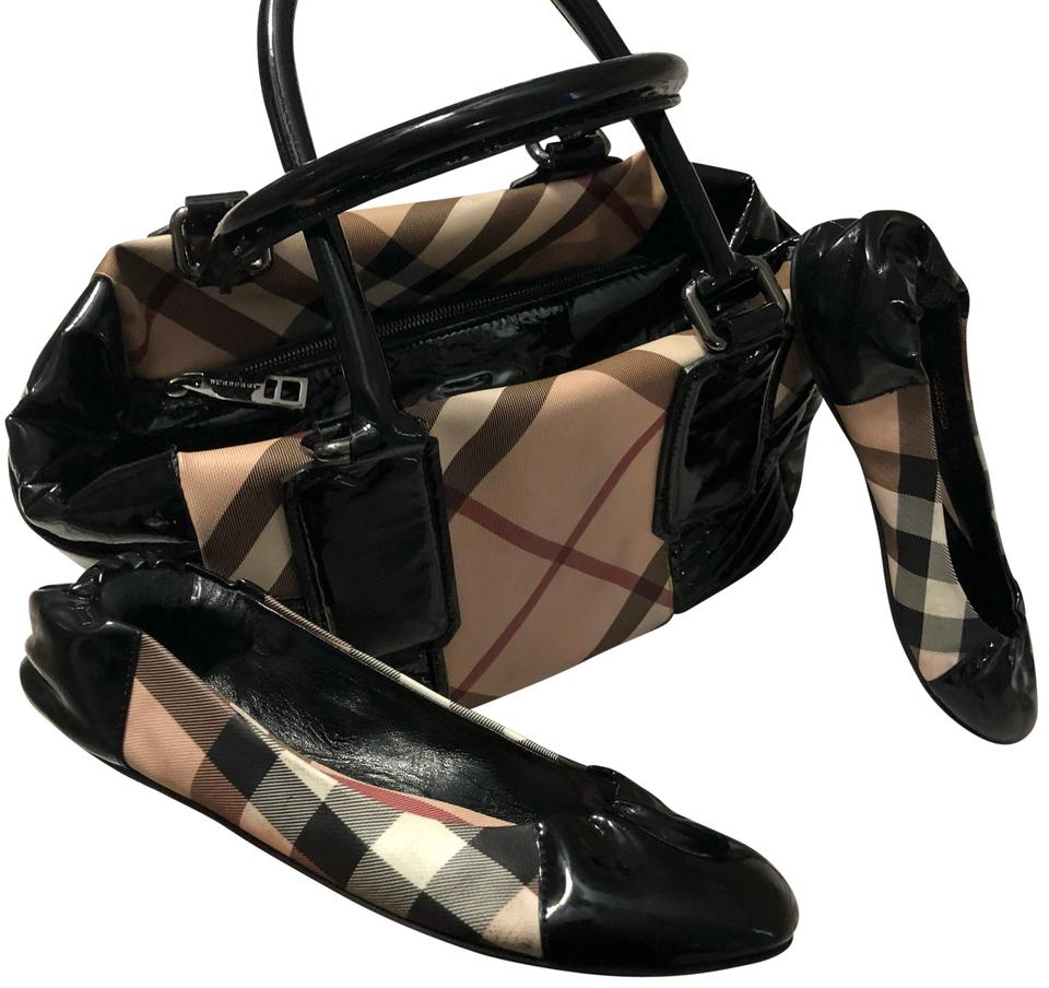 541509100f9 Burberry Matching Handbag with Shoes 38 and Half Check Black Leather Satchel