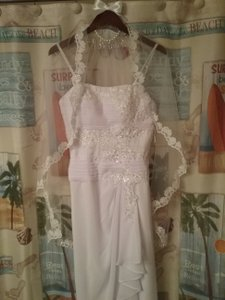 JJ's House White Chiffon and Lace Lm181636 / 002012020 Casual Wedding Dress Size 6 (S)