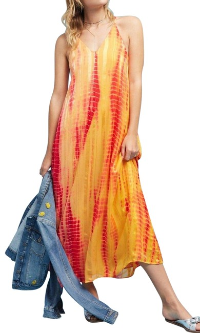 Item - Multi - Color Tie-dyed Silk Maxi By Rinku Dalamal Long Night Out Dress Size 6 (S)