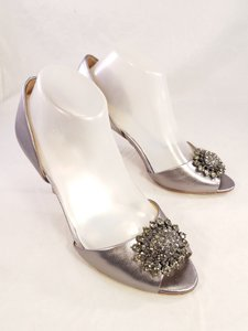 Badgley Mischka Silver Accent Peep Toe Crystal Detail Pumps Size US 8.5 Regular (M, B)