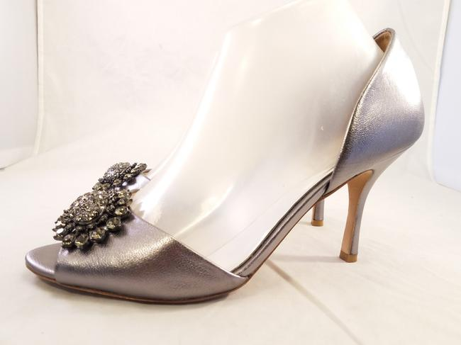 Badgley Mischka Silver Accent Peep Toe Crystal Detail Pumps Size US 8.5 Regular (M, B) Badgley Mischka Silver Accent Peep Toe Crystal Detail Pumps Size US 8.5 Regular (M, B) Image 1