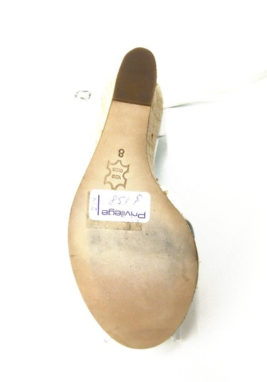 MATI Leather Natural Rafia Platform Marie-jane Cut-outs Rounded Toe Leather Sole Leather Lining WHITE Wedges