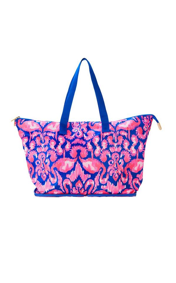 8c734f57499dd8 Lilly Pulitzer Packable Tote Brilliant Blue Bathers Nylon Beach Bag ...