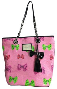 Betsey Johnson Sequin Chain Charm Tote in Pink