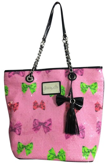 Betsey Johnson Sequin Chain Charm Silver Hardware Tote in Pink