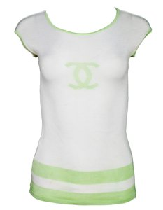 Chanel Silk Logo T Shirt white
