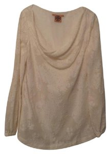 Tory Burch Like New Silk Tunic Embroidered Embossed Top Off-White