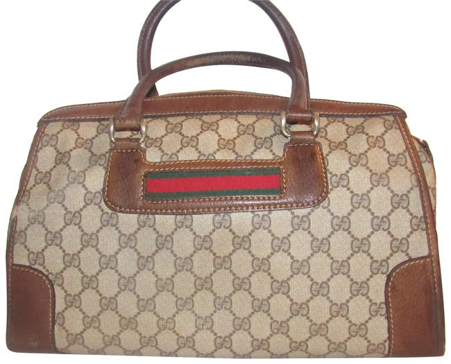 Item - Supreme Brown Large G Logo Print Coated Canvas and Brown Leather with Red & Green Striped Accents Satchel