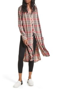 Free People Tunic Plaid Longsleeve Rayon Button Down Shirt Multicolor