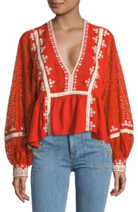 Free People Longsleeve V-neck Embroidered Sheer Printed Top red