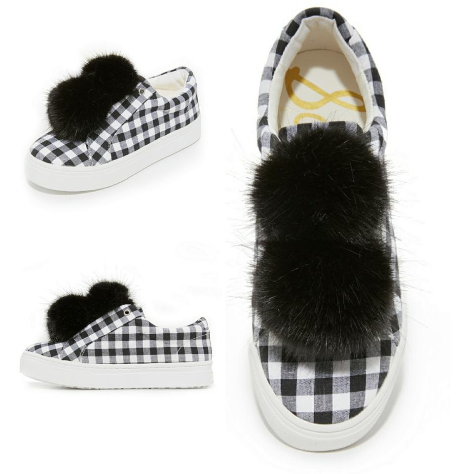 ed5a98502b626 Sam Edelman Black White Checkered Leya Gingham Sneakers with Fluffy  Faux-fur Pom-pom Sneakers Size US 6.5 Regular (M