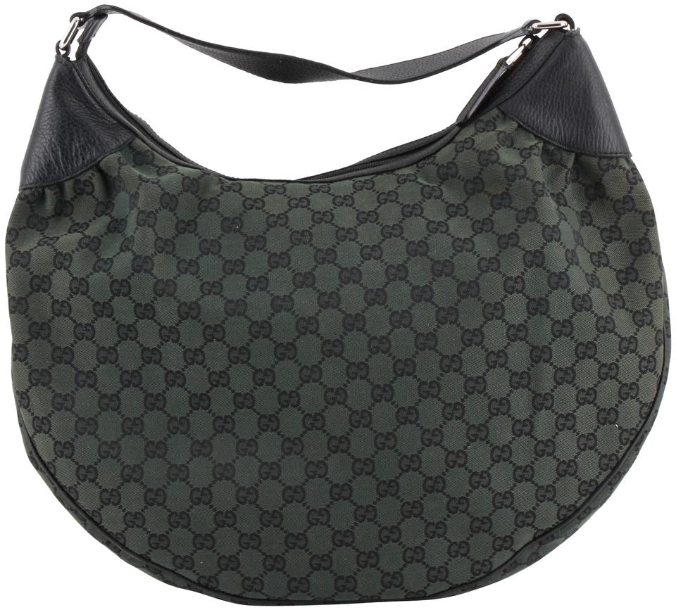 9084922aa8255d Gucci Monogram Green Canvas Hobo Bag - Tradesy