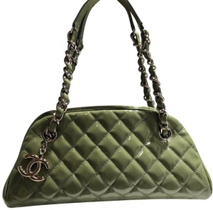 Chanel Patent Leather Bowler Quilted Tote in green
