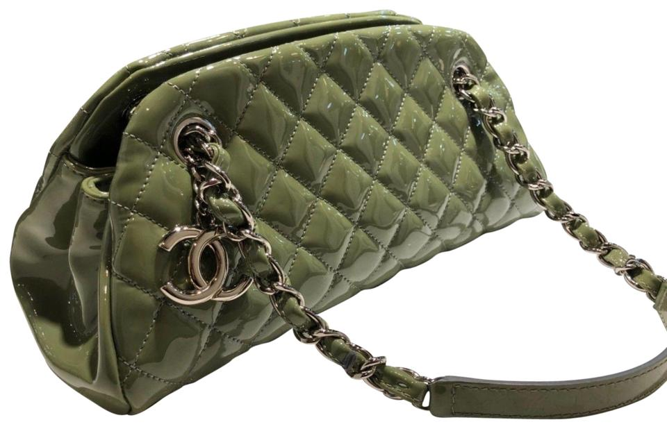 dcf8516869ea Chanel Mademoiselle Bowling Bag Olive Quilted Small Silver Hardware ...