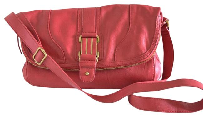 Item - Fold Over Coral Pink Faux Leather Cross Body Bag