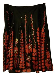 Mossimo Floral Satin Wedding Skirt Red and Black