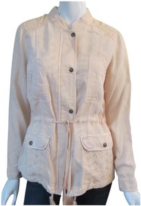 Max Jeans Eyelet Contrast Snap/Zip Closures Drawstrings Mandarin Neckline Plenty Military Jacket