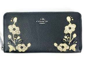 Coach F11885 FLORAL EMBROIDERY ZIP WALLET IN PEBBLE LEATHER