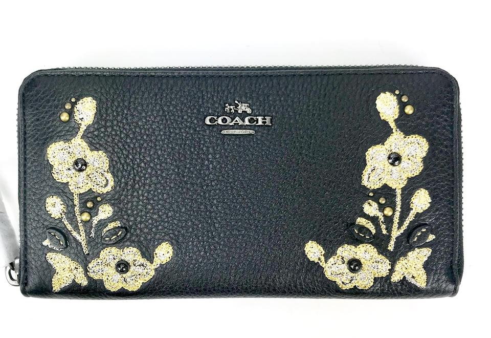 0f863ef8a1 Coach Black F11885 Floral Embroidery Zip In Pebble Leather Wallet 60% off  retail