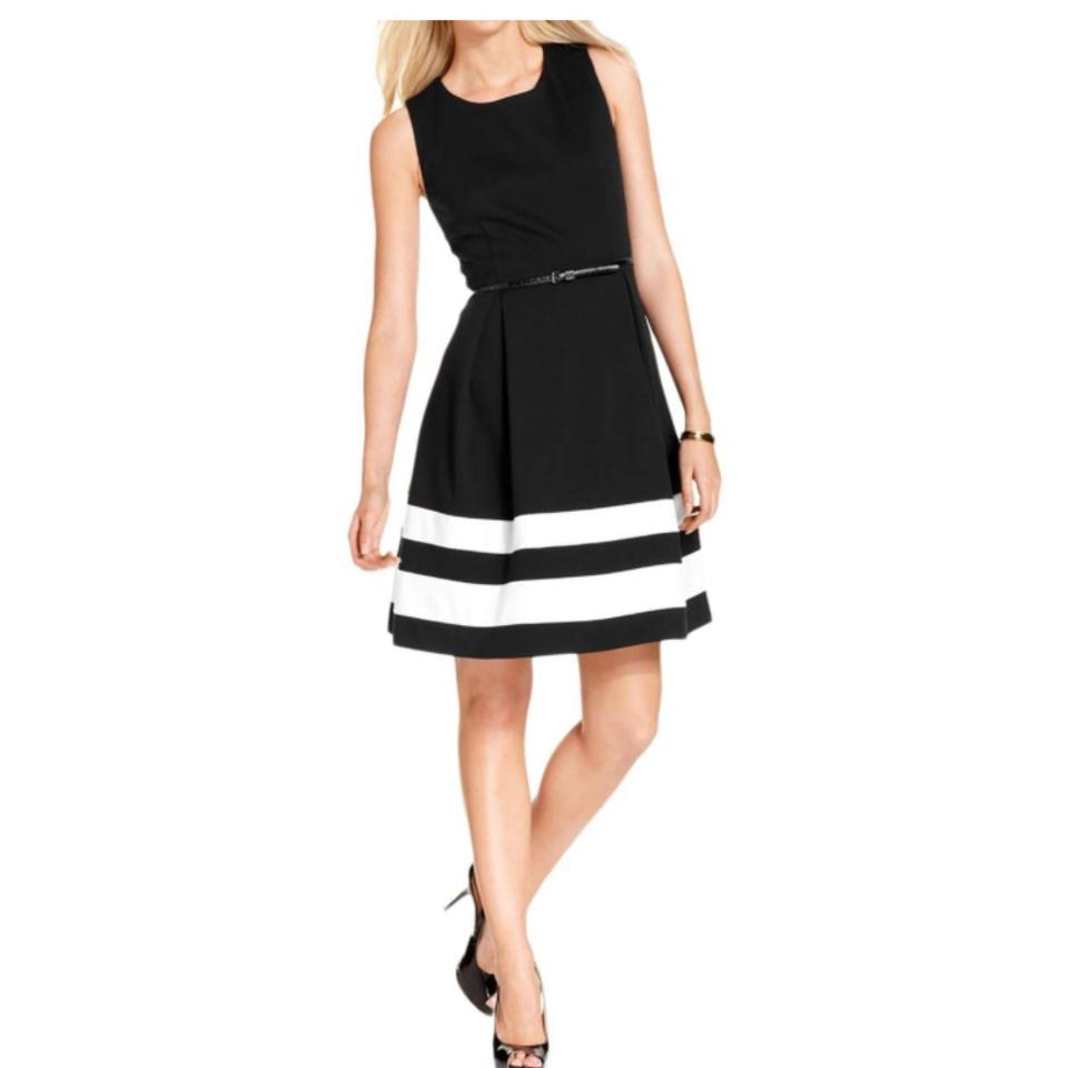 Calvin Klein Black and White Cd5p1nbe Mid-length Cocktail Dress Size ...