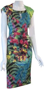 Beige by ECI Keyhole At Neckline Tropical Print Lithe Sleeves Pencil Silhouette Square Neckline Dress