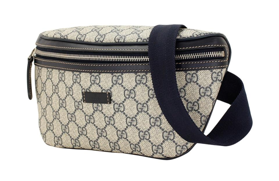 10bddef81a18 Gucci Monogram Gg Waist Pouch Fanny Pack Pvc 866641 Navy Blue ...