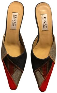 Isaac Mizrahi Kitten Stitch Leather Blue Red Stripped Mules