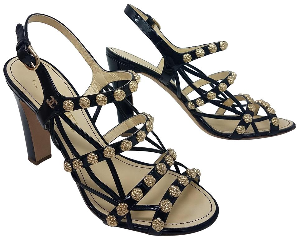 1c8b466e0c611a Chanel Black Gold Patent Leather Camellia Charm Cc Logo Cage Sandals ...