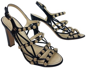 Chanel Patent Leather Cage Camellia Interlocking Cc Ankle Black, Gold Sandals