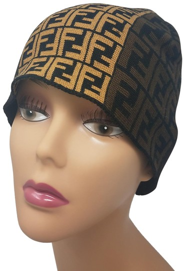 Fendi Brown, black multicolor Fendi Zucca print wool beanie Image 0
