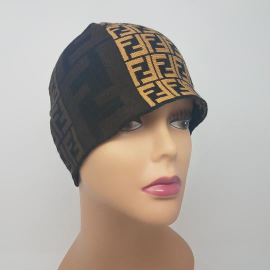 Fendi Brown, black multicolor Fendi Zucca print wool beanie Image 1