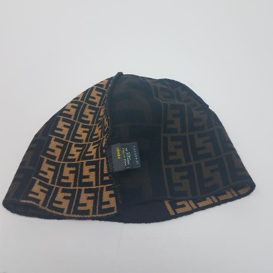 Fendi Brown, black multicolor Fendi Zucca print wool beanie Image 10
