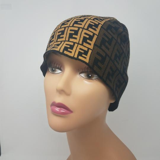 Fendi Brown, black multicolor Fendi Zucca print wool beanie Image 2
