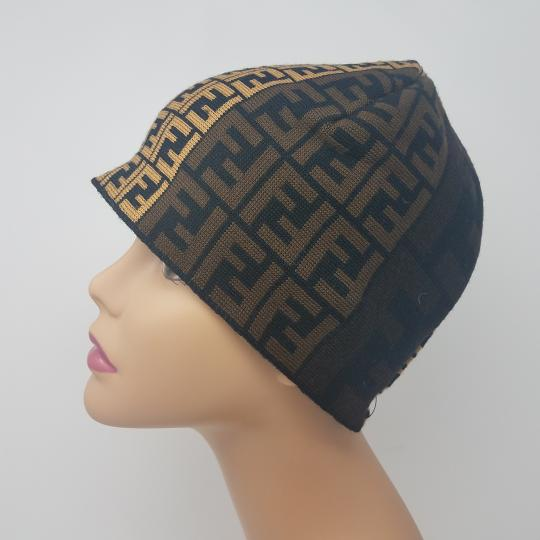 Fendi Brown, black multicolor Fendi Zucca print wool beanie Image 4