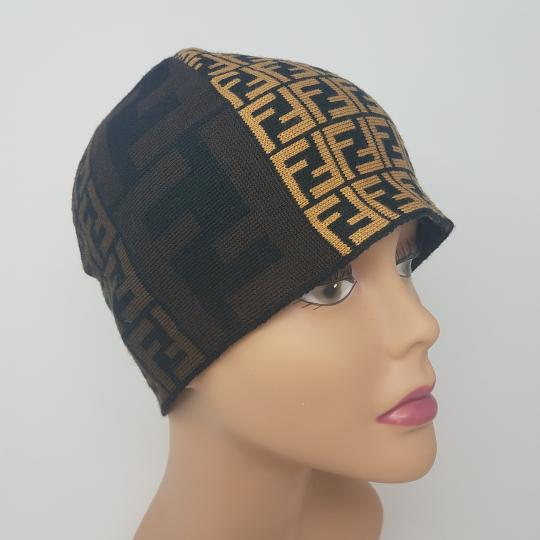 Fendi Brown, black multicolor Fendi Zucca print wool beanie Image 7