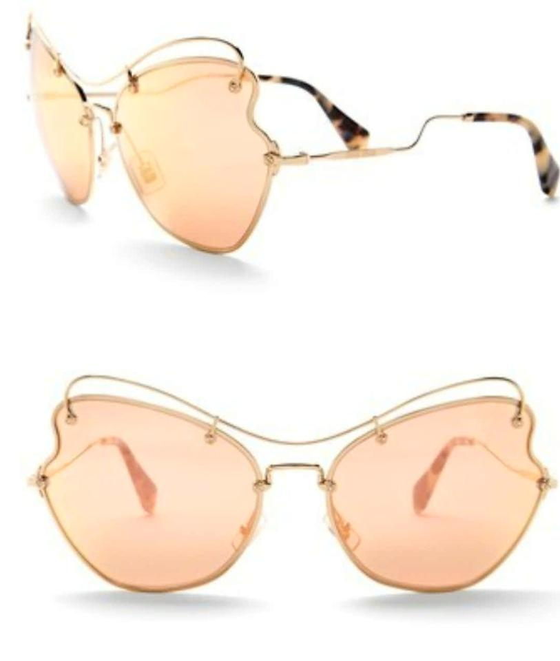 4203548131d3 Miu Miu Rose Gold Women's Oversized Scenique Collection Sunglasses ...