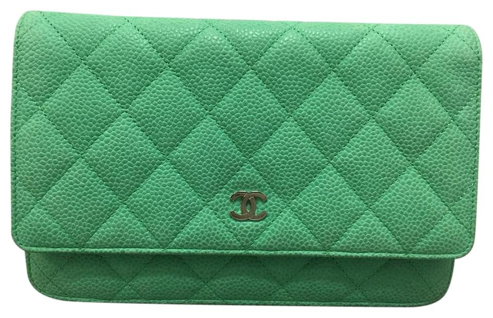 41b24d62e09f Chanel Wallet on Chain Green Caviar Cross Body Bag - Tradesy